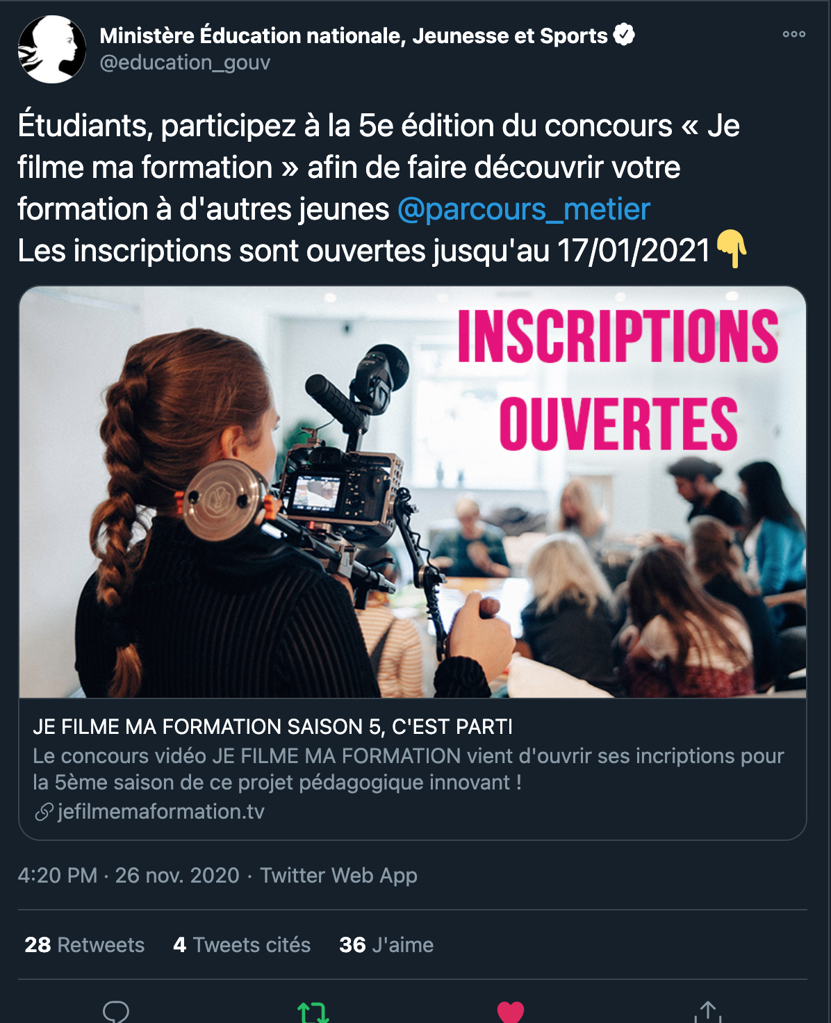 Twitter Ministere Education Nationale