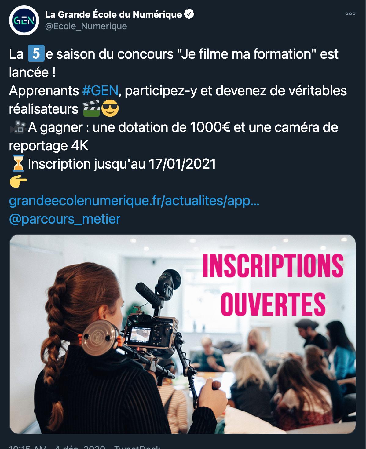 Grande École du Numérique - 26/11/2020