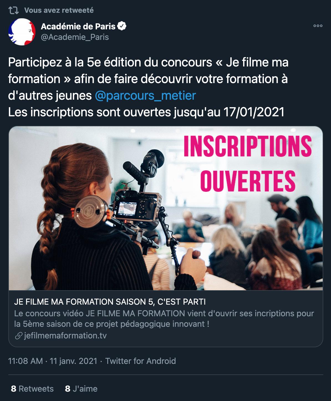 Twitter Académie de Paris - 11/01/2021