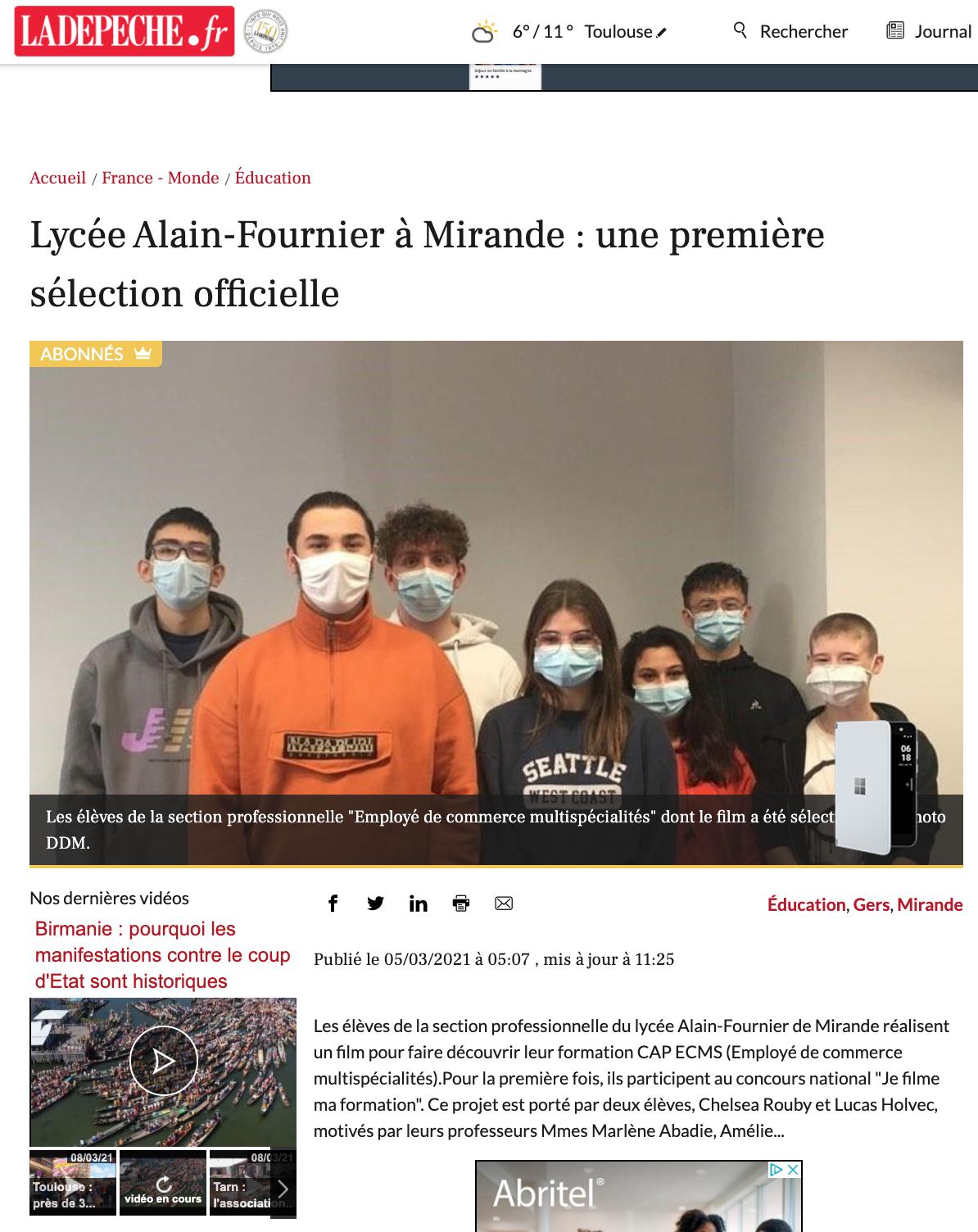 La Dépêche.fr - 05/03/2021