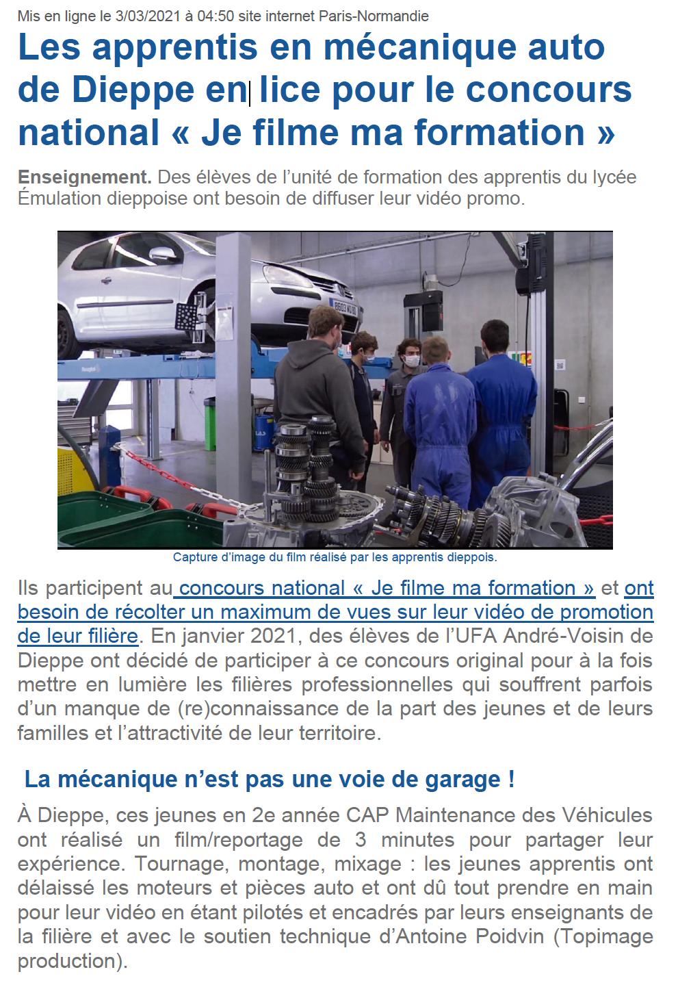 Les apprentis en mécanique auto de Dieppe en lice