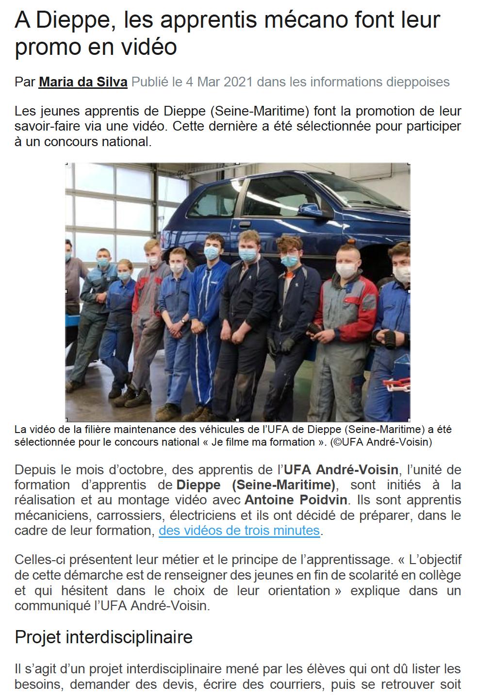 A Dieppe, les apprentis mécano font leur promo en vidéo