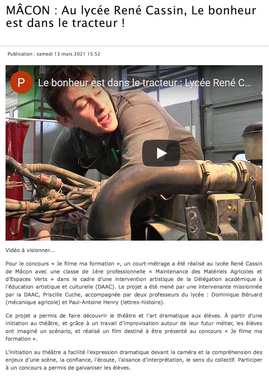 Mâcon : Au Lycée René Cassin, le bonheur est dans le tracteur