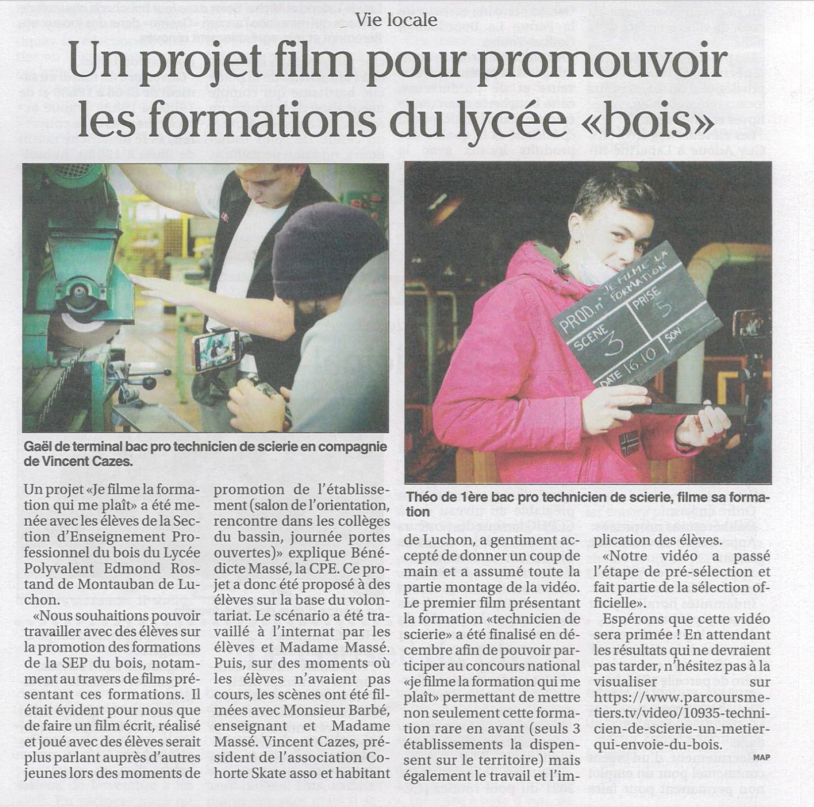 """Un projet film pour promouvoir les formations du lycée """"Bois"""""""