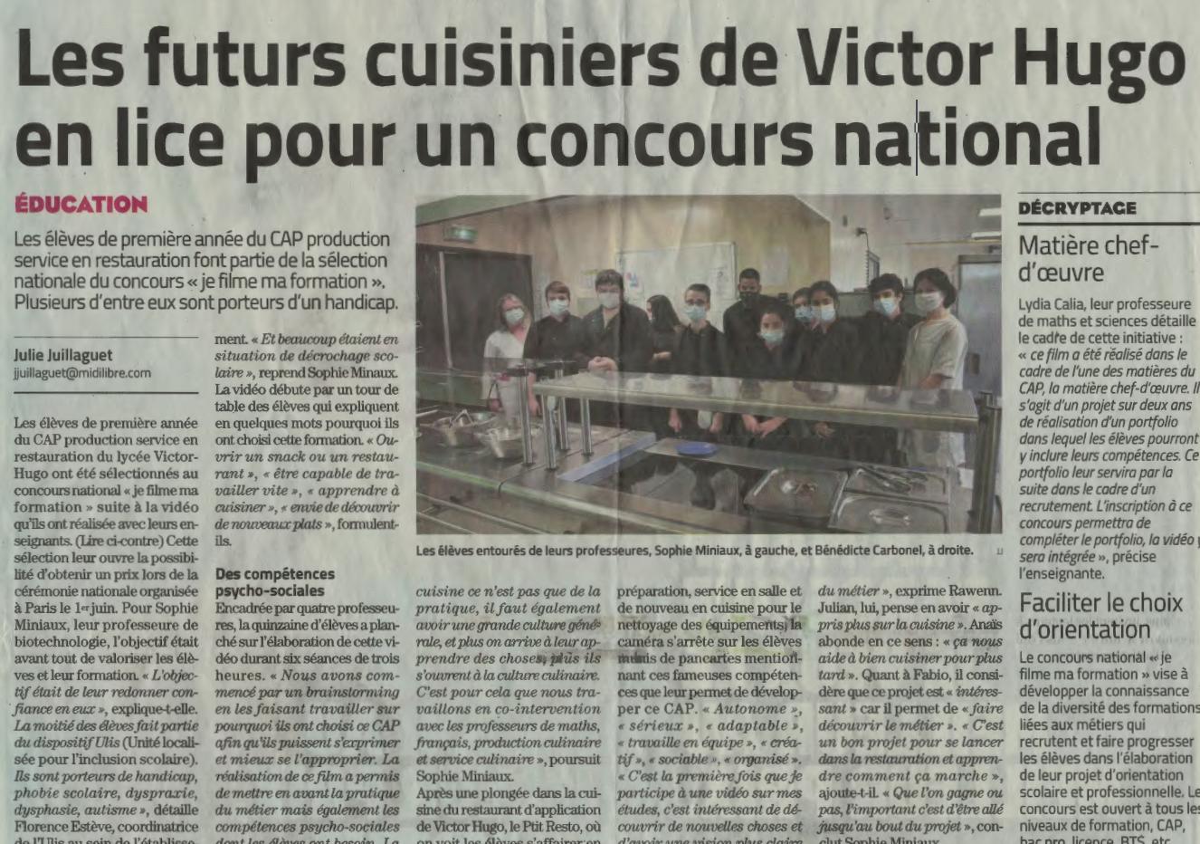 Les futurs cuisiniers de Victor Hugo en lice pour un concours national