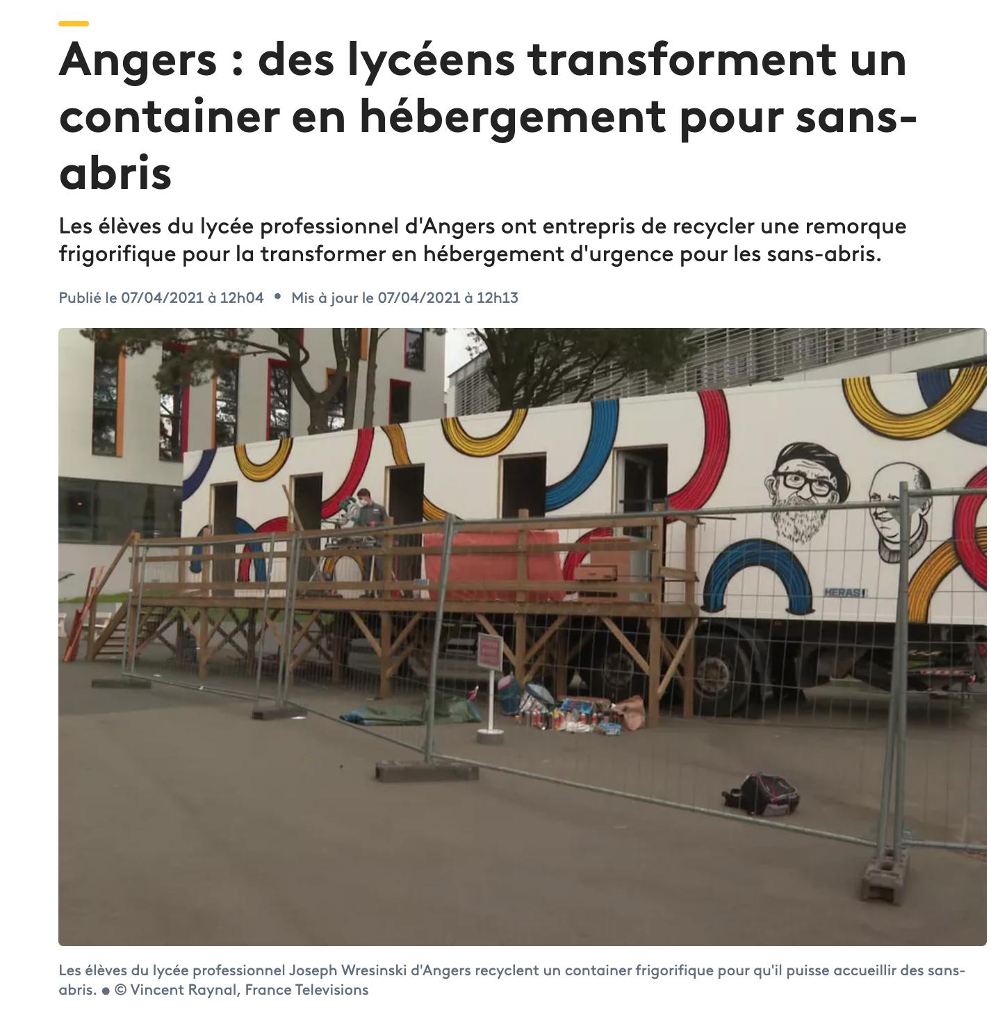 Angers : des lycéens transforment un container en hébergement pour sans-abris