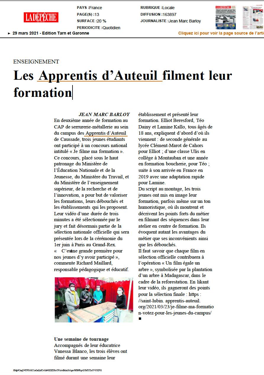 Les Apprentis d'Auteuil filment leur formation
