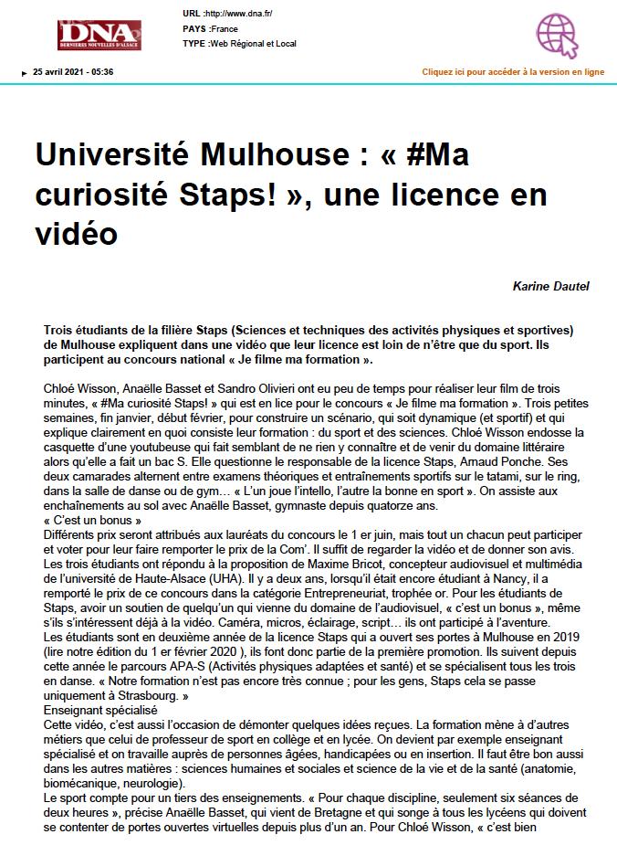 Université Mulhouse : « #Ma curiosité Staps! », une licence en vidéo